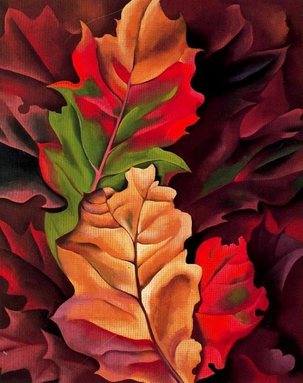 autumn paintings by famous artists Autumn Leaves, Georgia O'Keefe, 1924, private collection