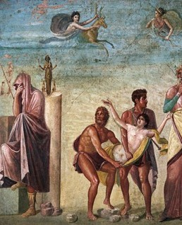 Copy after Timanthes, Sacrifice of Iphigeneia (detail), From Pompei, fresco, Museo Nazionale, Naples, poussin baroque
