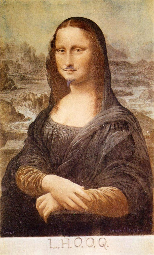Marcel Duchamp, L.H.O.O.Q, Mona Lisa with moustache, 1919, Philadelphia Museum of Art, Philadelphia, PA, artsy mustache