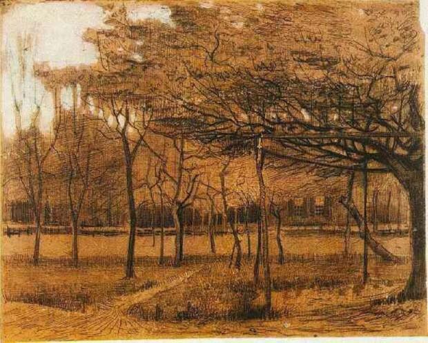 autumn paintings by famous artists Landscape with Trees, Vincent van Gogh, 1881, Museum Boijmans van Beuningen, Rotterdam, Netherlands