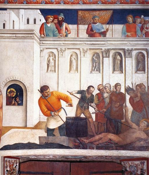 Fra Angelico, Martyrdom of St. Lawrence, 1449, Palazzo Apostolico, Vatican, saints attributes