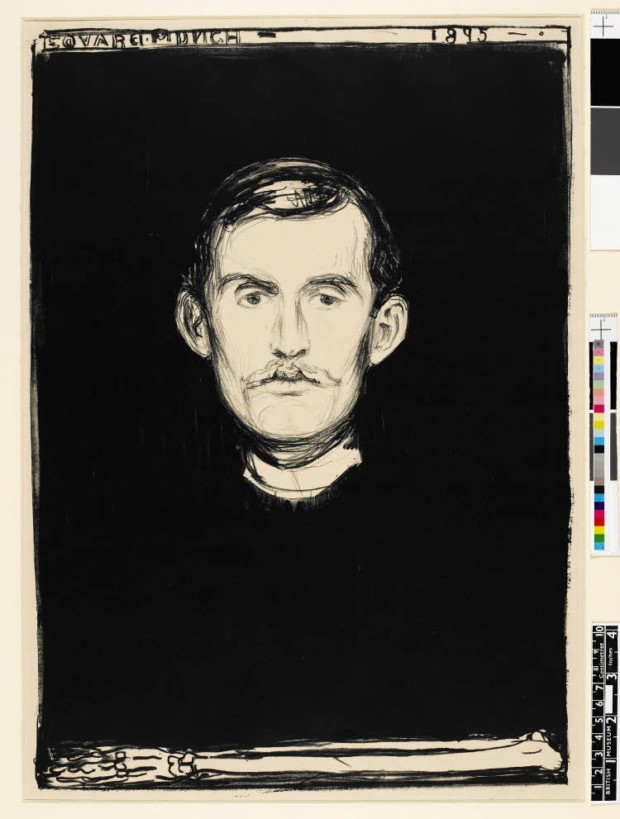 Edvard Munch, Self Portrait with Skeleton Arm, 1895, The British Museum, London, artsy mustache