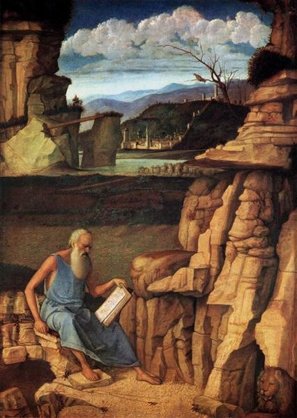 Giovanni Bellini, St Jerome Reading in the Countryside, 1485, National Gallery, London, saints attributes