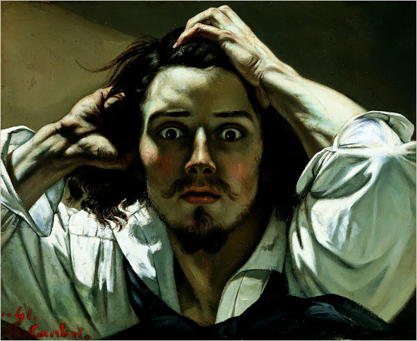 Gustave Courbet, The Desperate Man (Self-Portrait), 1845, private collection, artsy mustache
