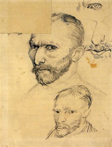 Vincent van Gogh, Two Self-Portraits and Several Details, 1886, Van Gogh Museum, Amsterdam, artsy mustache
