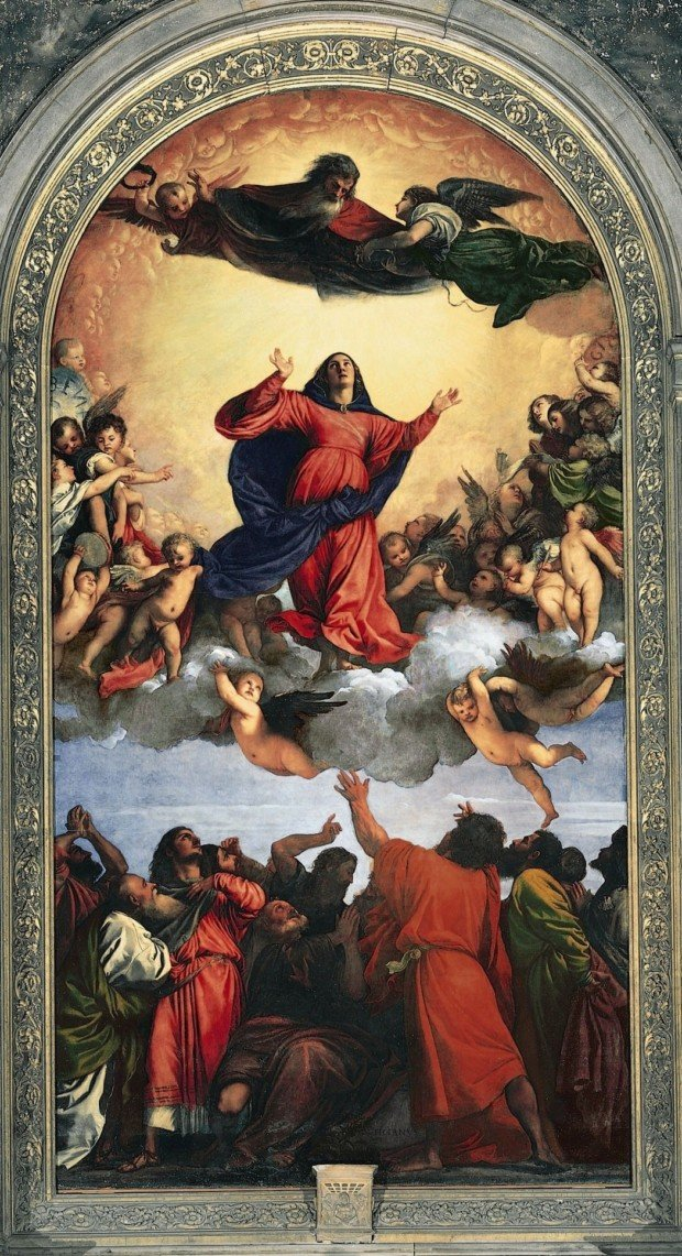 Titian Vecellio. The Assumption of the Virgin (Assunta). 1518. Venice, Basilica di Santa Maria Gloriosa dei Frari. Titian's Art in Venice