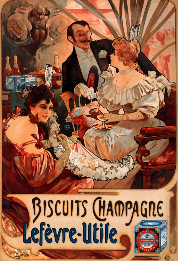 Posters 19th century Alfons Mucha, Biscuits Champagne Lefèvre Utile, 1896