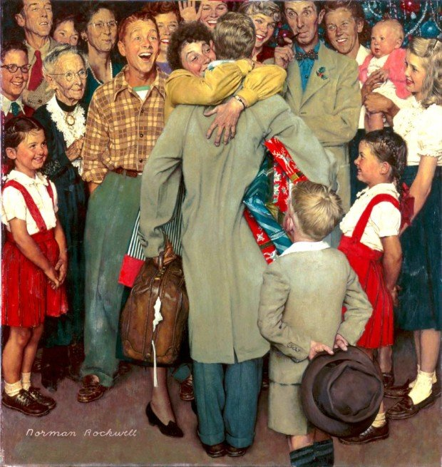Christmas Homecoming, Norman Rockwell, 1948, Cover illustration for The Saturday Evening Post, December 25, 1948. Norman Rockwell Museum Collections, Christmas in Art