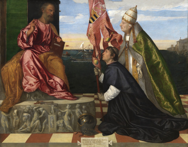 Jacopo_Pesaro_presented_to_St._Peter_by_Pope_Alexander_VI_-_Tizian-2 Titian's Art in Venice