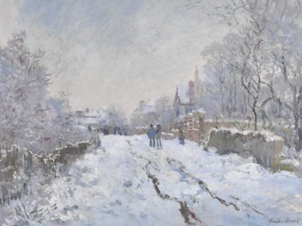 Snow Scene at Argeneuil, Claude Monet, 1875, National Gallery, London, Christmas in Art