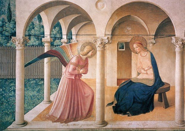 The Announciation, Fra Angelico, 1437-1446, Convent of San Marco, Florence, Christmas in Art