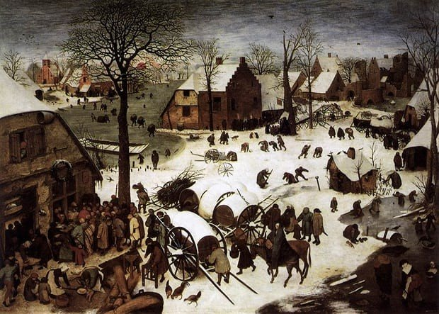 The Census at Bethlem, Peter Bruegel, 1566, Royal Museums of Fine Arts of Belgium, Christmas in Art