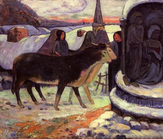 Paul Gauguin, Christmas Night (The Blessing of the Oxen), 1903, Indianapolis Museum of Art at Newfields, christmas in paintings