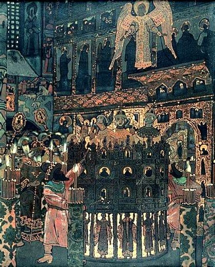 Nicholas Roerich, Costume devotion of Fiery Furnace before Christmas Liturgy in Russian Orthodox Church, 1907, Tretyakov Gallery, Moscow, christmas in paintings