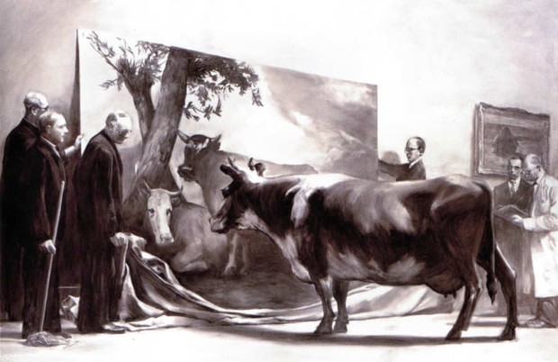 Mark Tansey, The Innocent Eye Test, 1981, The Met, Dutch Painters Love Cows