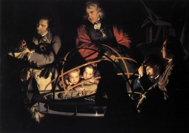 Joseph Wright 'of Derby', A Philosopher giving a Lecture on the Orrery in which a lamp is put in place of the Sun, ca. 1766, Derby Museum, enlightenment joseph wright