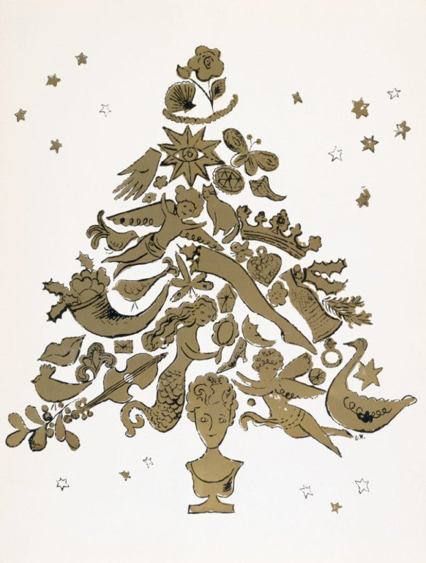 Christmas Tree, offset lithograph with gold leaf on folded paper, from an edition of unknown size, executed circa 1957 © The Andy Warhol Foundation for the Visual Arts, Inc., warhol christmas