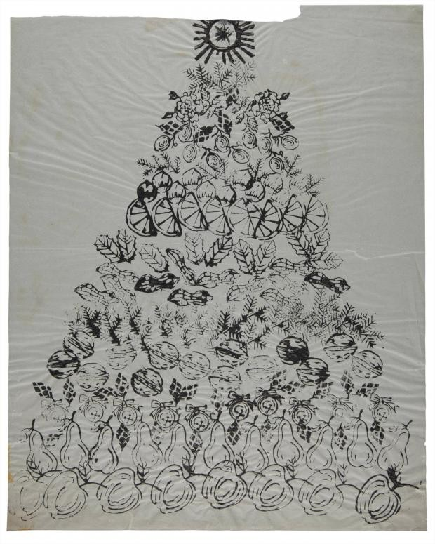Andy Warhol, Christmas Tree, ink, tempera and collage on paper, Drawn circa 1958 © The Andy Warhol Foundation for the Visual Arts, Inc., warhol christmas