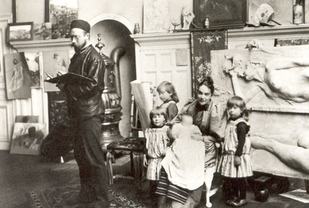 Carl and Karin Larsson with children, Carl Larsson house