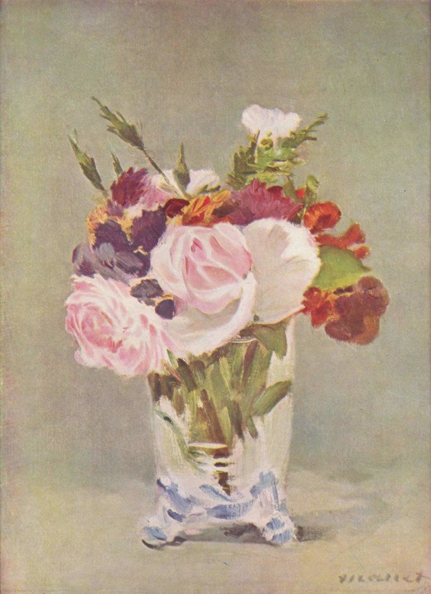 Edouard Manet - Flowers in a Crystal Vase. c. 1882, in National Gallery of Art, Washington D.C. Manet and Saint Francis