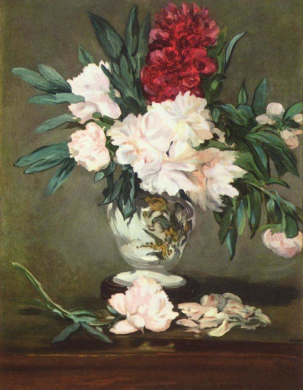 Edouard_Manet_Vase of Peonies on Pedestal. 1864. in Musee d'Ordsay, Paris