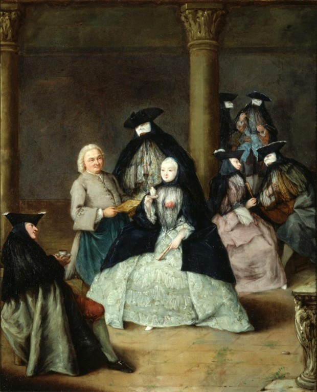 Pietro Longhi, Masked Party in a Courtyard, 1755, Saint Louis Art Museum, Missouri, Venice Carnival In Paintings
