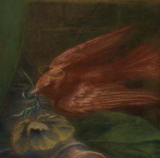 Red dove in Dante Gabriel Rossetti, Beata Beatrix, c.1863-70, Tate Britain