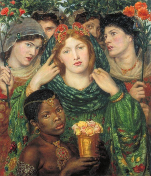 Jewellery in Rossetti's paintings, Dante Gabriel Rossetti, The Beloved (The Bride), 1865-6, Tate, London, Jewellery in Rossetti's paintings pearl pin