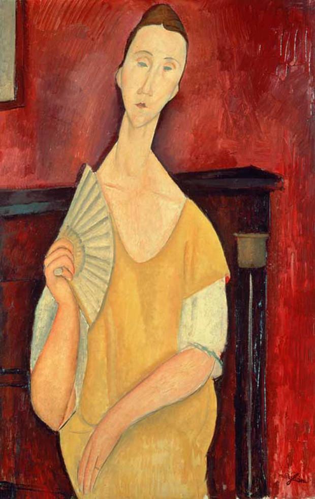Woman with a fan, Amadeo Modigliani, 1919, Musée d'Art Moderne de la Ville de Paris, The history of Amadeo Modigliani's portraits