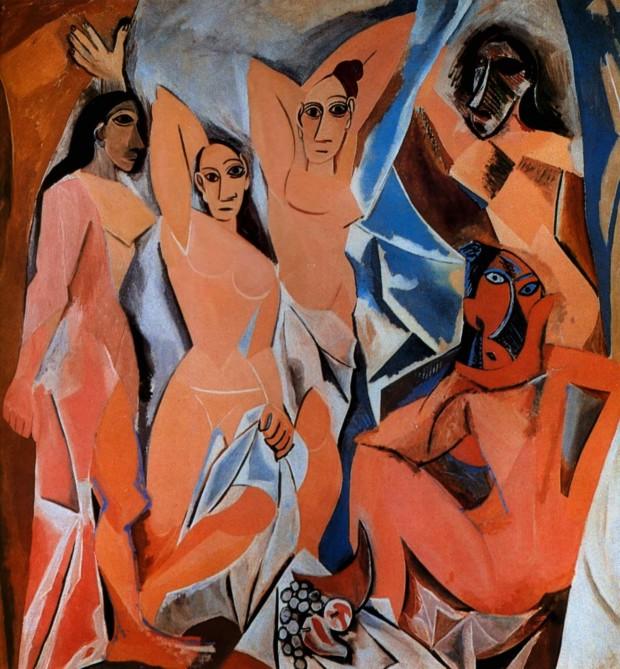 Pablo Picasso, Les Demoiselles d'Avignon, 1907, Museum of Modern Art Monet and Pigeons