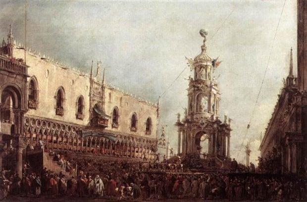 Francesco Guardi, Carnival Thursday on the Piazzetta, 1770, Louvre, Paris, France, Venice Carnival In Paintings