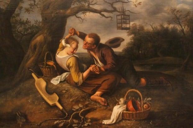 Jan Steen (1625/6-1679), Merry Couple (c.1660), oil on canvas, 65.5 x 80 cm, Leiden, Museum De Lakenhal, dutch genre painting