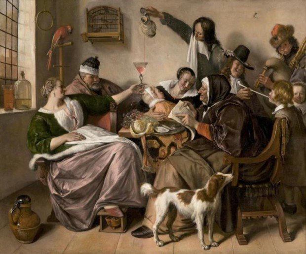 Jan Steen, As the Old Sing, So Pipe the Young, c.1665 The Hague, Mauritshuis, dutch genre painting