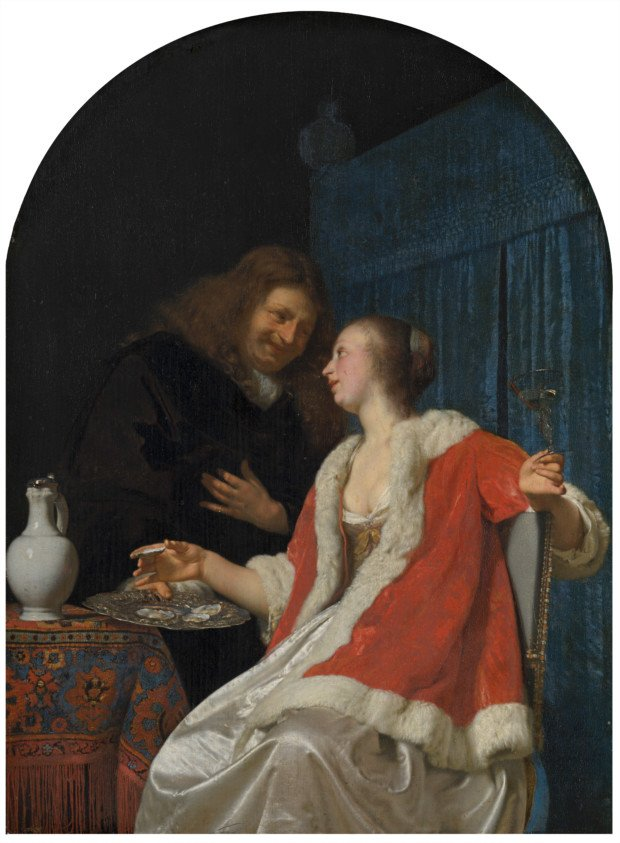 The Oyster Meal, Frans van Mieris the Elder, Mauritshuis, public domain , Valentine's Day inspired by art