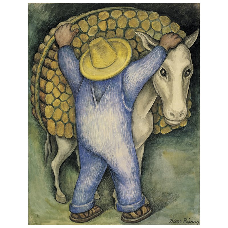 Art in BoJack Horseman Diego Rivera, Man Loading Donkey with Firewood, 1938, Santa Barbara Museum of Art