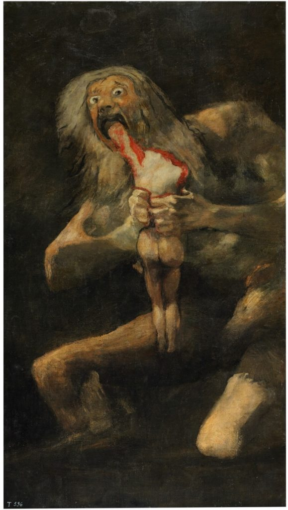 Saturn Devouring His Son, Fransisco di Goya, C. 1819 – 1823, Prado Museum, Madrid literature meets painting