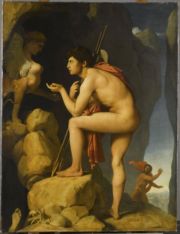 Oedipus and the Sphinx, Jean-Auguste-Dominique Ingres, 1808, Louvre, Paris, depiction of the Sphinx riddle literature meets painting