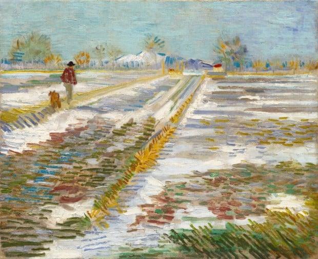maurizio cattelan america Vincent van Gogh, Landscape with Snow, 1888, Solomon R. Guggenheim Museum
