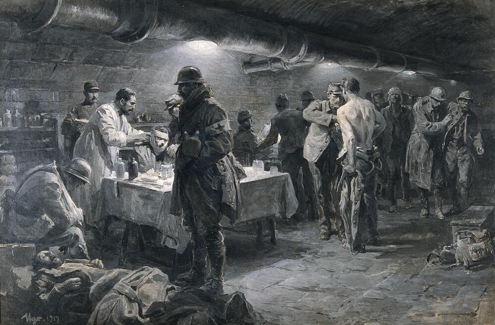 Ugo Matania, A French underground hospital at Verdun, 1917, Wellcome Library, London, UK.