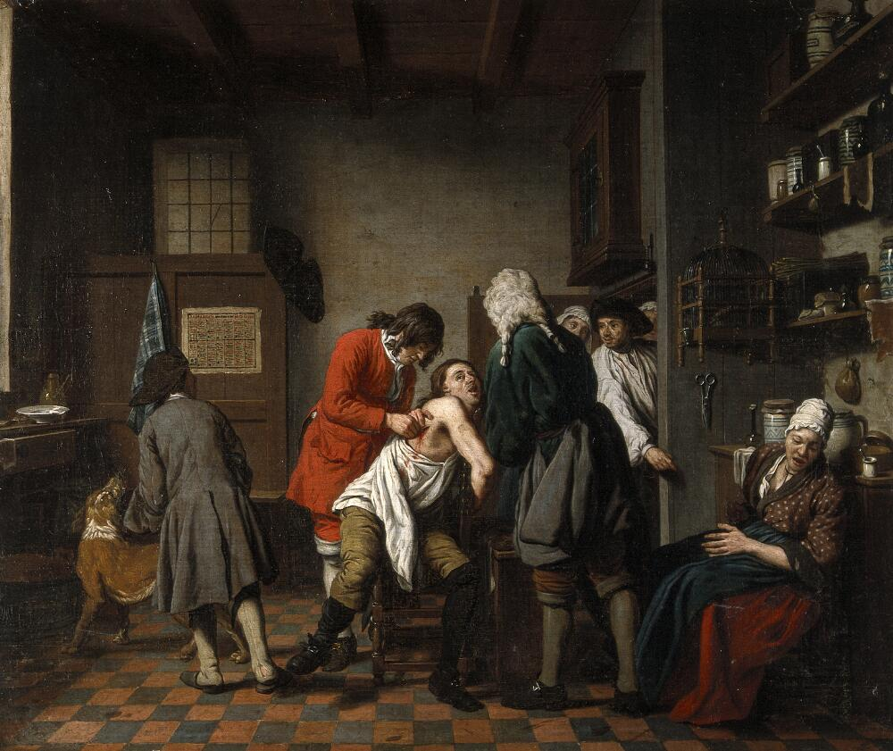 Johan Joseph Horemans, Interior with a surgeon attending to a wound in a man's side, c. 1722, Flemish, Wellcome Library, London, UK. medicine in art
