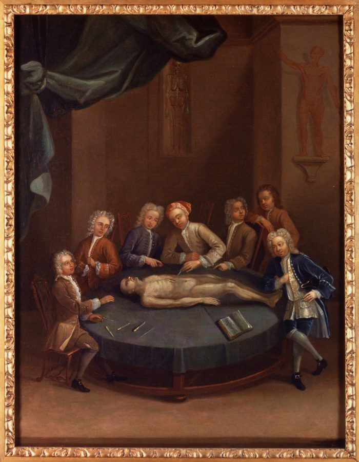 William Cheselden giving an anatomical demonstration at the anatomy theatre of the Barber-Surgeon's Company, c. 1730/1740, History of medicine in art