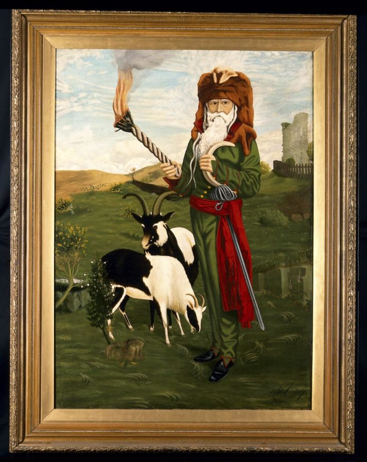 William Price of Llantrisant, in Druidic costume with goats, 1918, A. C. Hemming, Wellcome Library, London, History of medicine in art