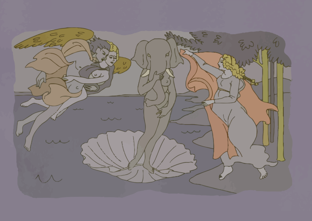 The Birth of Venus by Sandro Botticelli, on Elefante's wall, BoJack Horseman, season 01 episode 07 bojack horseman art