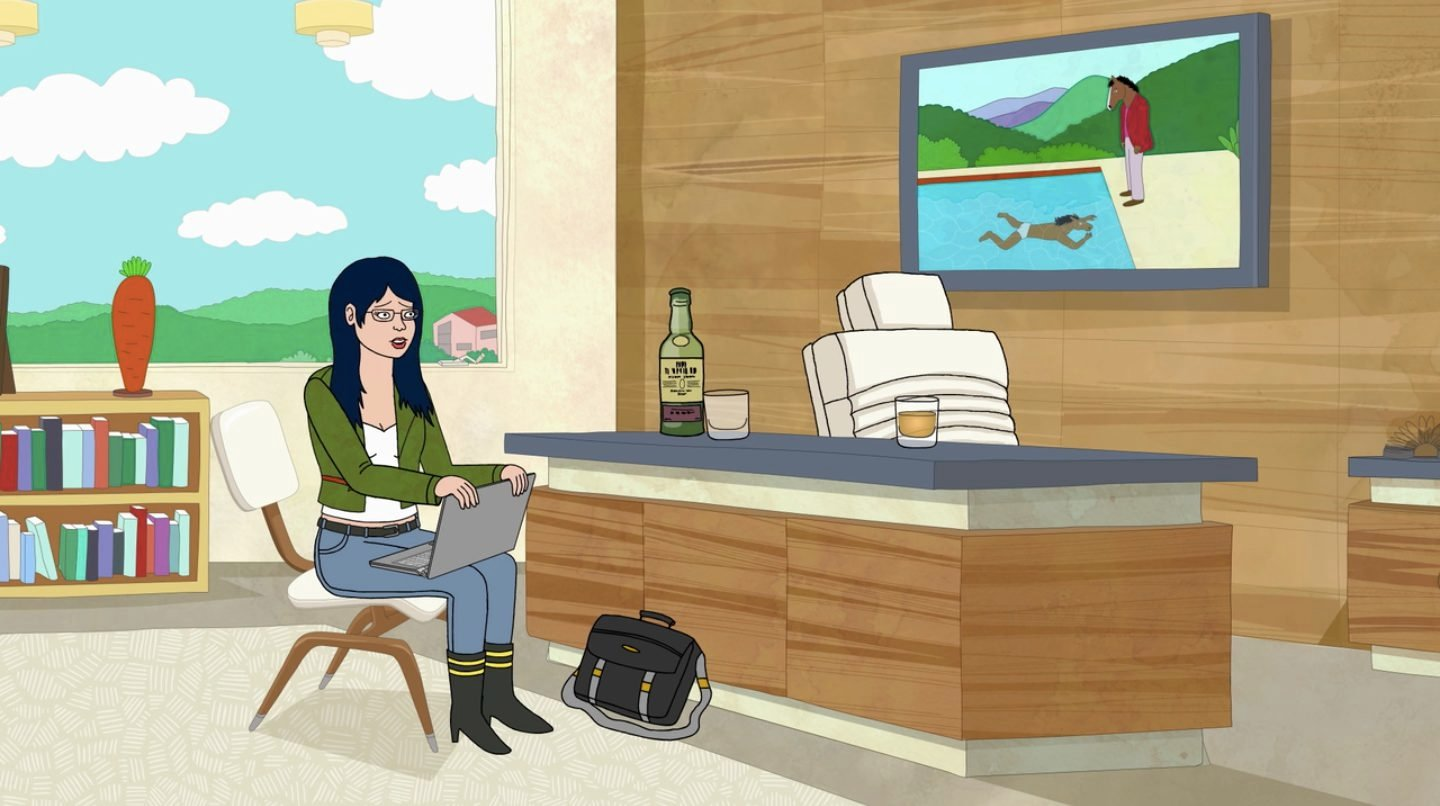 Art in BoJack HorsemanBoJack's version of David Hockney, Portrait of an artist (pool with two figures), season 01 episode 02