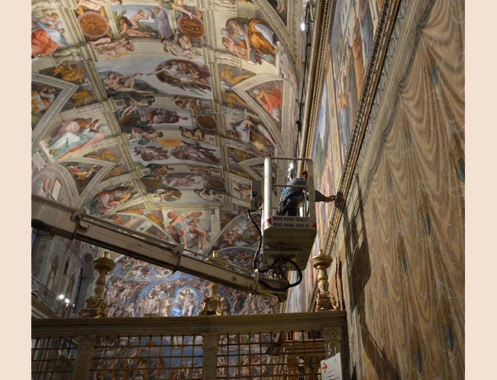 Restorers at work during the conservation and restoration of the Sistine Chapel facts about Sistine Chapel