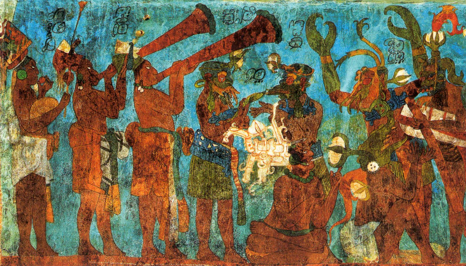 Mural from Bonampak, unknown Mayan artist, 8th century AD, Chiapas, Mexico, The History of Mexico in Murals