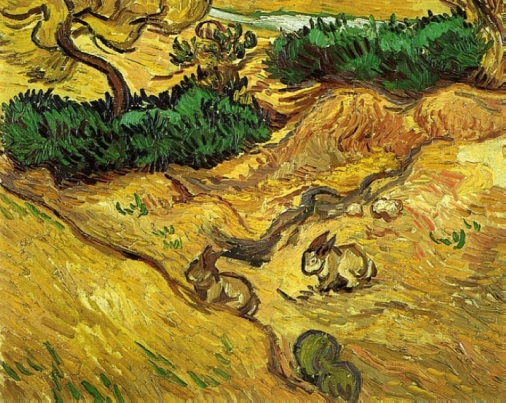 Vincent van Gogh, Field with Two Rabbits, 1889, Van Gogh Museum, Amsterdam; bunny paintings
