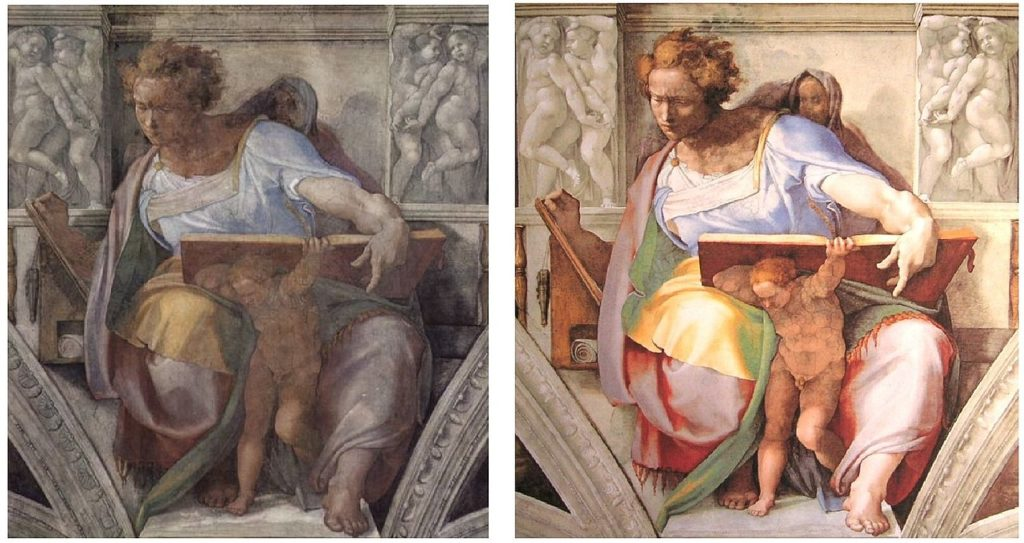 Daniel, before and after restoration Facts about Sistine Chapel