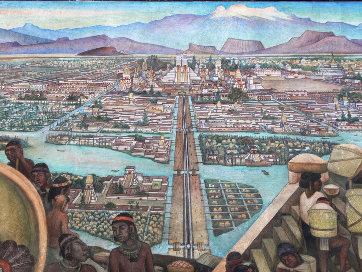 The Great City of Tenochtitlan, Diego Rivera, 1945, Palacio Nacional de México, The History of Mexico in Murals