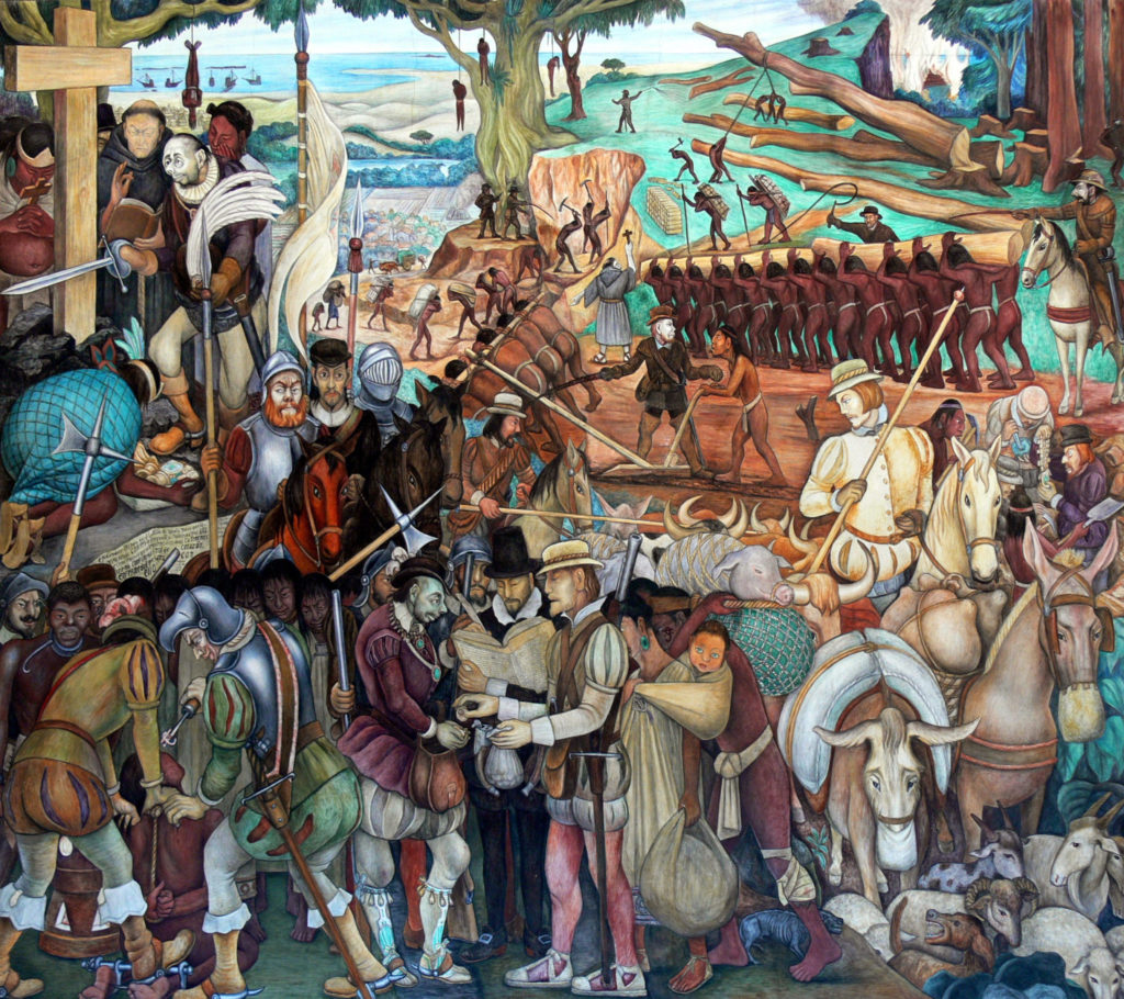 The Arrival of Cortés, Diego Rivera, 1951, Palacio Nacional de México, The History of Mexico in Murals